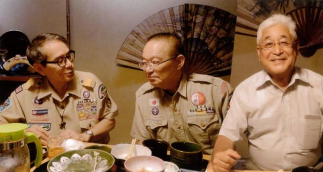 アメリカ代表1,500人引率して来たMATUMOTO常務理事と小桜で天ぷら会食する下松BS一団の清綱団長と今治育成会長