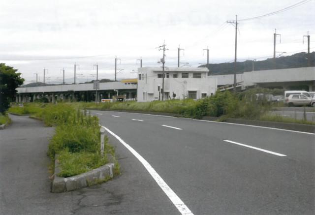 国道2号線(久保)の両側は草ぼうぼう