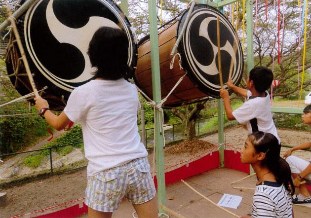 子供達の太鼓の練習
