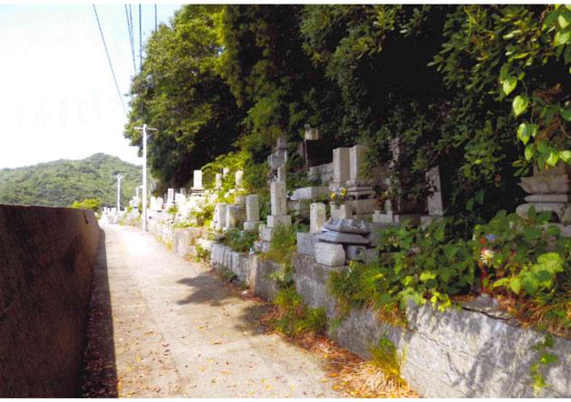 道路に沿って見事な墓の行列 墓石の多くは「南無阿弥陀仏」と刻まれており、この島が浄土真宗の島とわかる
